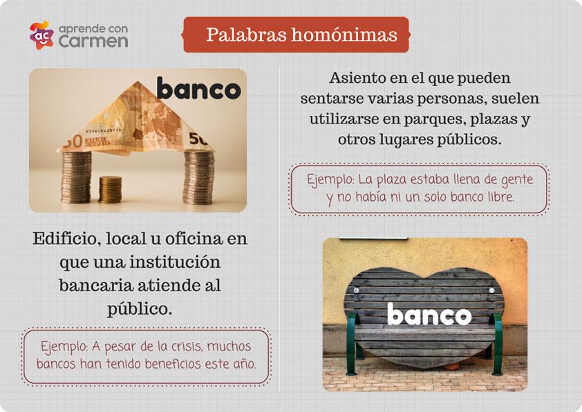 palabras homonimas banco